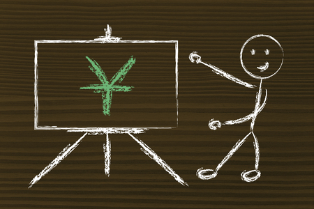 blackboard with yuan, china currency symbol photo