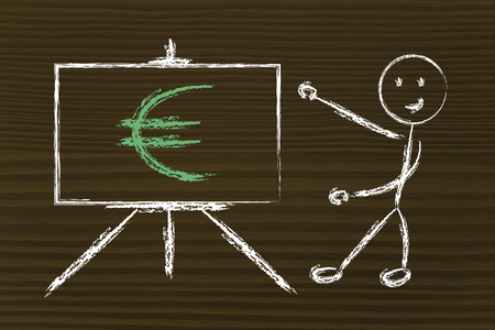 blackboard with euro, europes currency symbol photo
