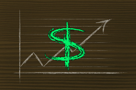diagram with stock exchange rates and currency symbol: dollar photo