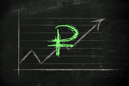 diagram with stock exchange rates and currency symbol: ruble photo
