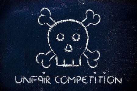 unfair: dangerous unfair competition threatening business survival, skull metaphor