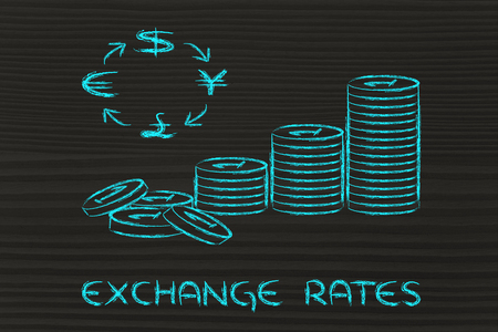 gb pound: concept of exchange rates, coins and currency symbols
