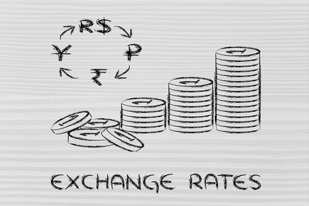 concept of exchange rates, coins and BRICS currency symbols photo