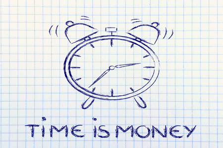 time is money, concept of not wasting time, alarm ringing photo