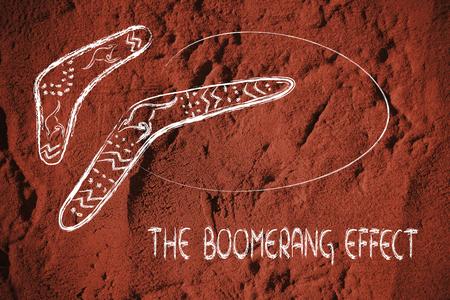 conception drôle de deux boomerangs australiens, les outils de chasse qui revient, métaphore de la cause-conséquence