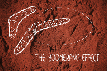 cause and effect: funny design of two australian boomerangs, the hunting tools that comes back, metaphor of cause-consequence