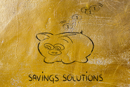 money savings, coins dropping inside piggy bank  Stock Photo