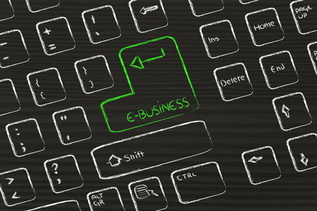 ebusiness: keyboard with special button about e-business Stock Photo