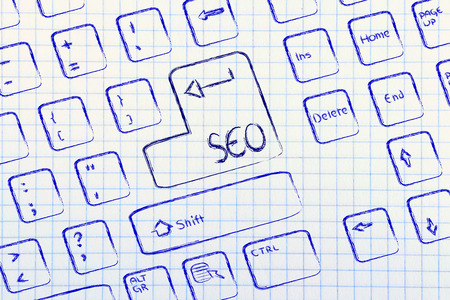 optimisation: keyboard with special button for search engine optimisation