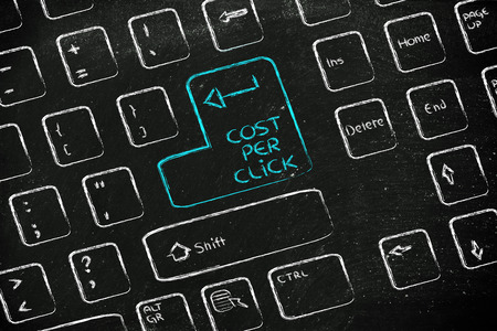 keyboard with special button about cost per click  photo