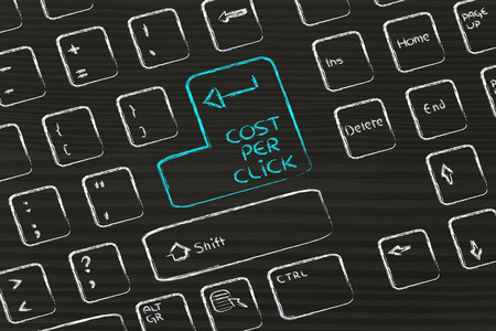 keyboard with special button about cost per click Stock Photo - 26753064