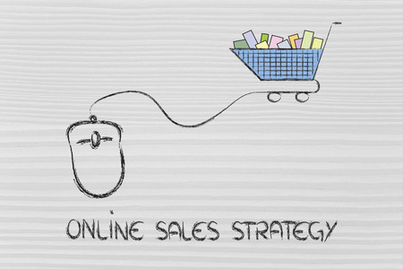 online sales and marketing strategy: mouse with cart Stock Photo - 26857267