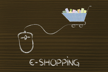 online sales and marketing strategy: mouse with cart Stock Photo - 26857311