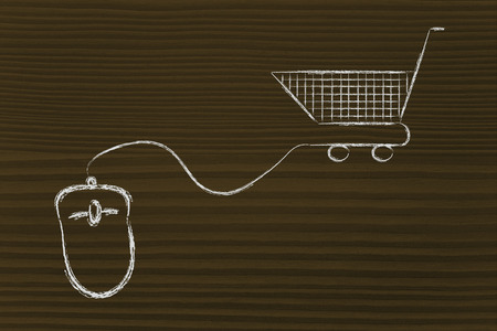 online sales and marketing strategy: mouse with cart Stock Photo - 26888128