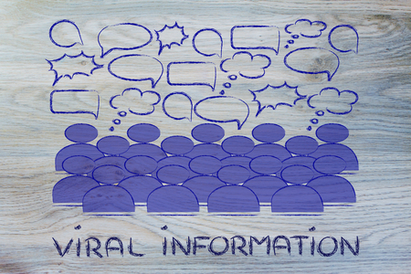 conceptual representation of communication, news and information sharing in a crowd or social media platform photo