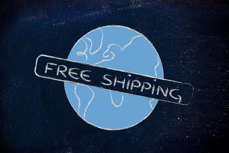 logo for an initiative of free worldwide shipping photo
