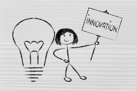 knowledgeable girl holding a sign saying innovation photo