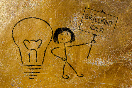 knowledgeable: knowledgeable girl holding a sign saying Brilliant Idea