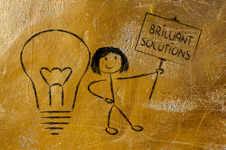 knowledgeable: knowledgeable girl holding a sign saying Brilliant Solutions
