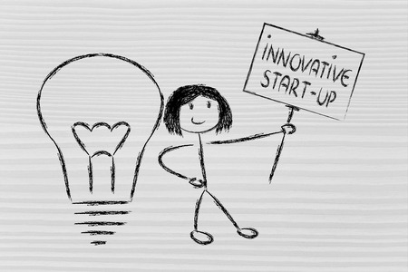 knowledgeable girl holding a sign about an innovative start-up photo