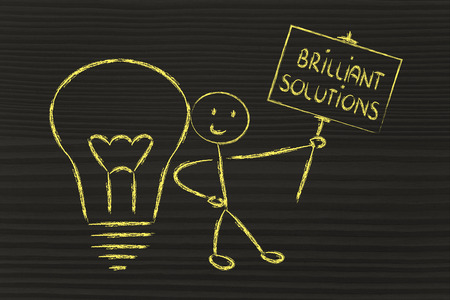 knowledgeable man holding a sign saying Brilliant Solutions photo