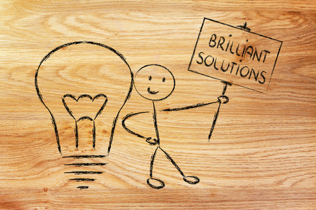 knowledgeable: knowledgeable man holding a sign saying Brilliant Solutions