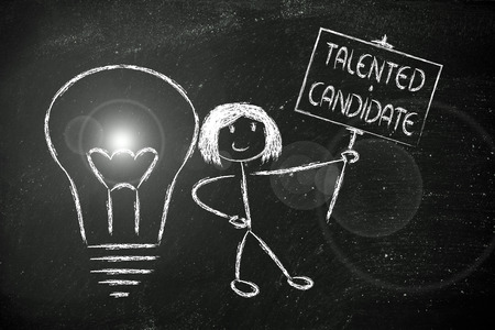 knowledgeable girl holding a sign saying Talented candidate