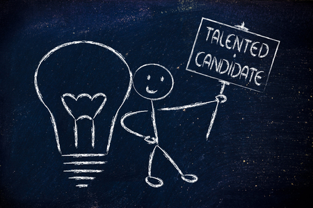 conceptual image of a knowledgeable man holding a sign saying talented candidate