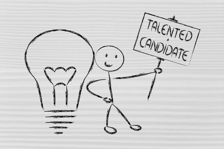 knowledgeable: conceptual image of a knowledgeable man holding a sign saying talented candidate