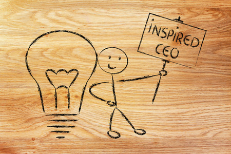 knowledgeable: knowledgeable man holding a sign saying inspired ceo Stock Photo