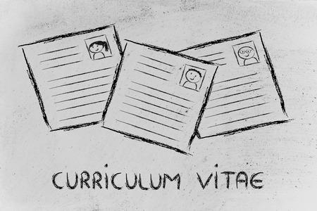 cv: Selecci�n de CV y ??el proceso recruitmet, hojas de vida de diferentes personas