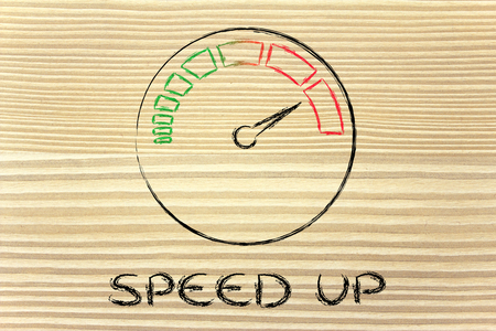 reaching your goals: speed up, speedometer as symbol of reaching your goals fast