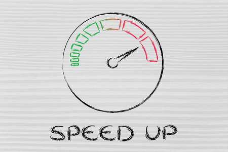 speed up, speedometer as symbol of reaching your goals fast