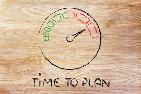 time to plan, speedometer as symbol of reaching your goals fast Stock Photo