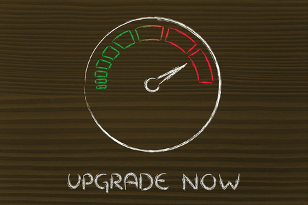 reaching your goals: upgrade now, speedometer as symbol of reaching your goals fast
