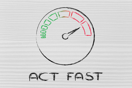 reaching your goals: act fast, speedometer as symbol of reaching your goals fast Stock Photo