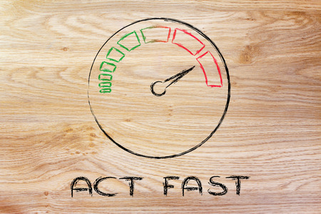 act fast, speedometer as symbol of reaching your goals fast Stock Photo