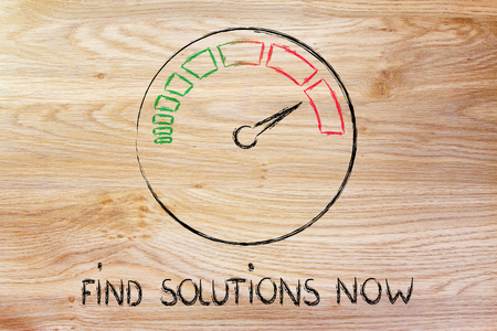 find solutions now, speedometer as symbol of reaching your goals fast