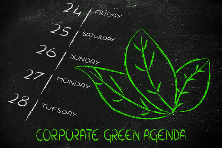leaves growing out of a calendar, symbol of CSR and corporate green agenda photo