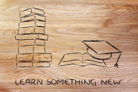notion: books and graduation cap: university degrees, education, learning new things Stock Photo