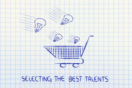 metaphor design about selecting innovative projects and talents to hire Standard-Bild