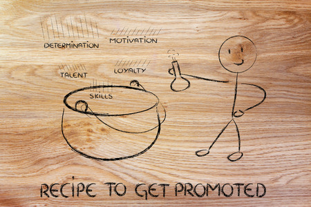 promoted: metaphor recipe of the perfect ingredients to get promoted Stock Photo