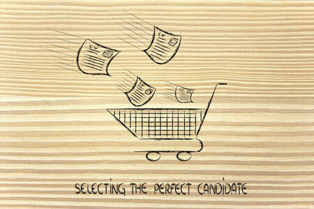 funny metaphor of CV selection for talent scouting, collecting the best talents photo