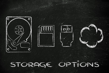 file storage solutions: hard disks, sd card, usb key or cloud storage photo