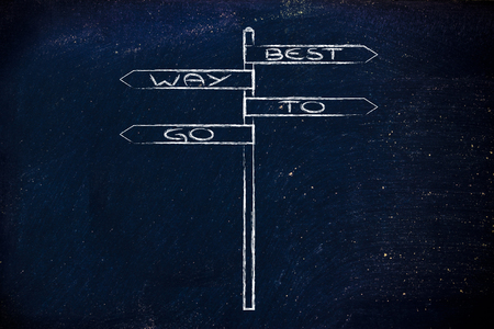 contradictory: the Best way to go, metaphor of a contradictory road sign