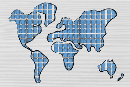 silicium: renewable energy: the world as covered in photovoltaic panels