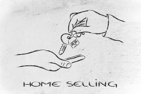 house exchange: house key exchange, concept of buying or moving house Stock Photo