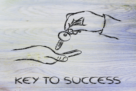 hands giving metaphor key to success, unlock your potential