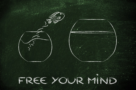 think unconventionally and free your mind, fish jumping into a bigger bowl photo