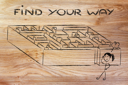 seeking solution: find your way and a solution to problems: maze metaphor design
